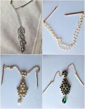 Lady Flower Crystal Bindi Hair Tikka Clip Indian Head Jewellery Party Wedding