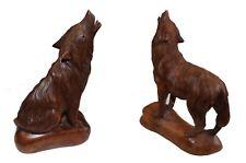 Holztier heulende Wölfe Wolf Figur Schnitzerei Handarbeit Krafttier Dekoration