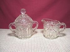 Vintage Heavy Thick Pressed Glass Sugar & Creamer Set