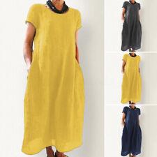 ZANZEA Womens Summer Holiday Short Sleeve Cotton Linen Kaftan Ladies Midi Dress