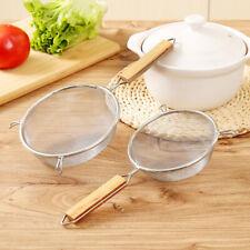 New listing Fine Mesh Food Strainer 304 Stainless Steel Colander Sieve With Wooden HandleSj