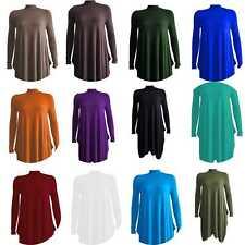 Womens Ladies Polo Neck Long Sleeve Flared Swing Winter Plus Size Dress 8-26