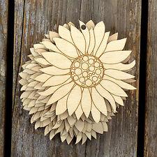 10x Wooden Sunflower Flower Head Craft Shape 3mm Ply Plants Garden Nature