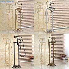 Floor Mount Bathroom Bathtub Mixer Faucet Free Standing Taps&Hand Shower Sprayer
