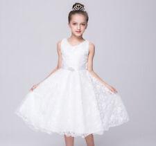 Girls Bridesmaid Diamond Dress Kids Princess Wedding Summer Party Flower Belt