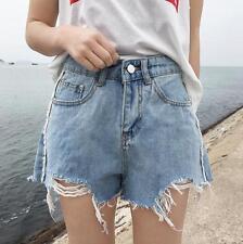New Blue Plus Size High Waisted Pleated Shorts Womens Denim Short Pants S-5XL sz