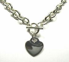 "Heart Charm Toggle Solid Sterling Silver Necklace 20"" + Bracelet Set (76 grams)"