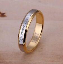 Bague, anneau, alliance plaqué OR 18 K gravé Forever love, 4 mm. Multi tailles;