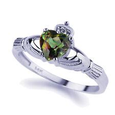 Women 14K White Gold Rainbow Mystic Topaz Cz Heart Celtic Claddagh Ring Band