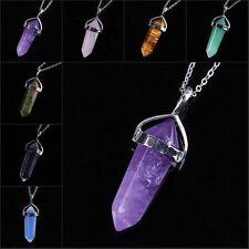 Stunning Crystal Quartz Healing Point Gem Stone Pendant Bead Chakra Necklace