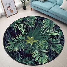 Tropical Jungle Green Leaves Yoga Mat Rugs Floor Bathmat Round Non-slip Carpet