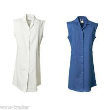 Camice lavoro cappotto donna abbigliamento da cotone senza maniche NUOVO
