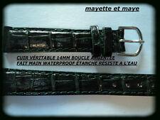 BRACELET MONTRE CUIR ÉTANCHE WATERPROOF VERT 14mm RÉSISTE A L'EAU   REF; 5618