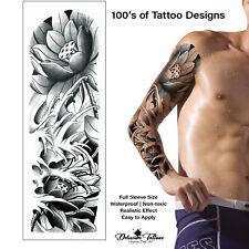 Lotus Flower Temporary Tattoo Sleeve Tribal Arm Waterproof Transfers Men Kids UK