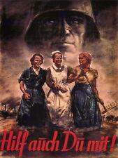 87193 WAR WW2 WOMEN HELP GERMANY RETRO ADVERTISING Decor WALL PRINT POSTER CA