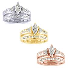 Gold Engagement Bridal Set Ring 1.50 Ct Marquise D/Vvs1 10K