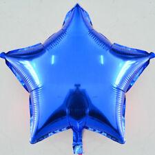 Blue Plain Coloured Star Foil Balloons Party Helium Quality Birthday Wedding