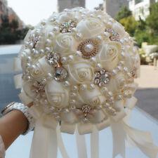 Handmade Luxury Rose Silk Pearls Rhinestone Brooch Wedding Bridal Bouquet Ivory