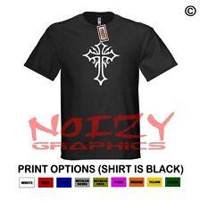 Cross # 2 Christian Shirt Black T-Shirt Jesus Tribal Faith Religious Ithycus