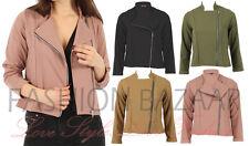 Womens Classic Crepe Biker Rocker Jacket Vintage Girls Smart Zip Up Jacket Gift