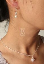 Freshwater Pearl Sterling Silver Pendant Necklace Bracelet & Drop Earrings Set