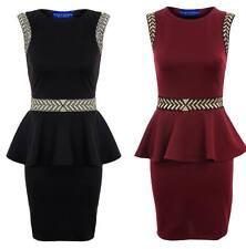 NEU Damen Gold Pfeil Muster Schößchen Stretch Bodycon Kurz Damen Kleid 8-14