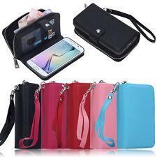 Luxury PU Leather Purse Zipper Wallet Case Card Cash Holder For Samsung Galaxy
