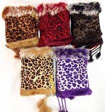 Ladies Fingerless Fur Hand Warmer Annimal Print Gloves
