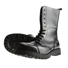 Boots and Braces 10-Loch schwarz Stiefel Rangers Springer Stahlkappe Leder Neu