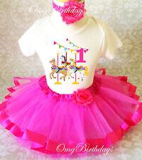 Horse Carousel Fair Hot Pink Baby Girl 1st First Birthday Tutu Outfit Shirt Set