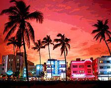 Miami South Beach Pop Art Canvas 16 x 20