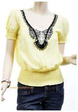Catalog Women Renaissance Rhinestone Studs Silk Chiffon Blouse Shirt Peasant Top