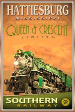 Hattiesburg MS- QUEEN & CRESCENT LTD Poster Southern Railway Train Art Print 228