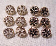 B05 bis ** 13 mm ** LOT de 6 BOUTONS Tige Or rose clair FLEUR Noir Blanc Couture
