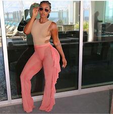 Sexy Women Beach Mesh Ruffles Sheer Wide Leg Pants Bikini Cover Up 4 Colors