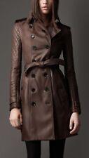 Women's Brown Leather Trench Coat Genuine Lambskin Overcoat Long Winter Jacket