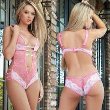 Womens Sexy-Lingerie Deep V Lace Dress Open Crotch Pajamas Babydoll Sleepwear US