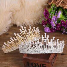 Vintage Princess Bridal Tiara Crown Pearl Rhinestone HairBand Wedding Prom Party