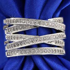 9K WHITE GOLD GF CELTIC CROSS ANNIVERSARY WEDDING ETERNITY DRESS BAND RING GIFT