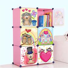 Cute Kid Cartoon 2/3/4/6/8/12 Cubes Storage Cabinet Wardrobe Toy Book Shelve DWX