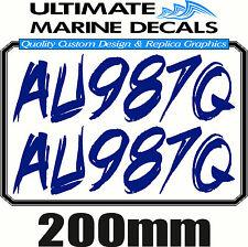 Boat Rego 200mm Mod Registration Sticker Decal Set of 2
