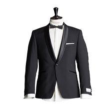 WILVORST Smoking Veste de costume noir drop8 cintré col écharpe laine vierge