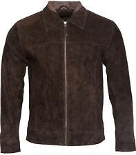 Men's Retro Brown 100% Goat Suede Leather Harington Biker Jacket