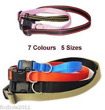 Collar de perro de nylon suave Ajustable con Hebilla y Clip XS-XL (10-30mm) 7 Colores