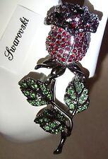 Signed Swarovski Gunmetal Grey Red Rose Brooch Pin