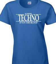 Techno Camiseta Mujer - 100% Techno Regalo DJ Rock Electrónica