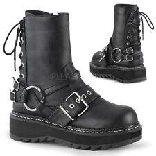 Demonia LILITH-210 Black Vegan Leather Platform Rear Lace-Up Ankle Boot