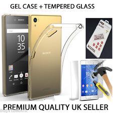 ultra fino transparente funda de Gel&Vidrio Templado para Sony Experia Teléfono