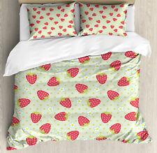 Fruits Duvet Cover Set with Pillow Shams Spring Blossoms Cartoon Print