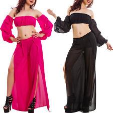 Completo donna top corto spalle nude pantaloni tessuto velato pantaloni VB-9617